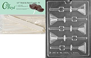 Cybrtrayd 45St50-AO143 Martini Glass Lolly All Occasions Chocolate Candy Mold with 50 4.5-Inch Cybrtrayd Lollipop Sticks