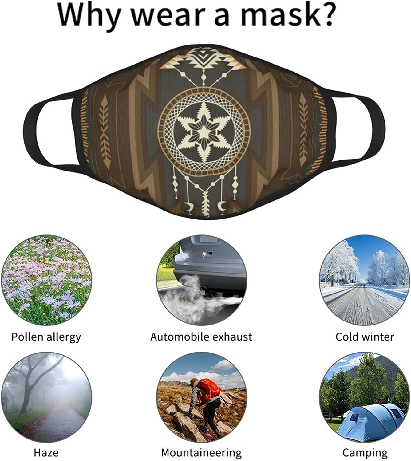 Balaclava Earmuffs Native American Aztec Navajo Dreamcatcher Moon Face Mouth Cover Mask Reusable Windproof Scarf Towel Cover Headwrap