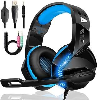 Cascos Gaming de GM-14 PRO, Cascos PS4 con Sonido 50MM Envolvente Estéreo con Orejeras Grande y Cómodas, Micrófono Giratorio de 120 °, Compatibles con PS4 / PS5 / Xbox One / PC