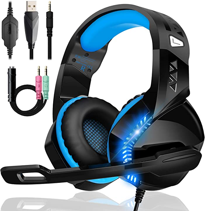 Cuffie gaming per ps4 ps5 xbox one, upgraded bassi stereo cuffie over ear con microfono condensatore GM-14