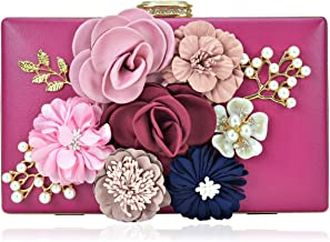 Women's Flower Clutch Handbag Evening Bag Prom Party Wedding Cocktail Clutch Purse with Pearl Beaded