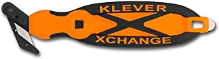 Klever XChange, Box Cutter, Safety Cutter, Utility Knife, Safety Knife, Replaceable Head Perfect For Cutting Double Wall Cardboard or Other Thick Material (Orange)