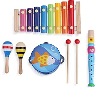 Boxiki kids 6 PCS Musical Instruments Set The for Your Little Musician! A 6 PC Music Set That Includes a Xylophone, Record...