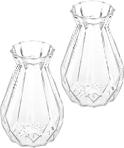 MyGift 5-Inch Decorative Clear Glass Diamond-Faceted Flower Vases, Set of 2