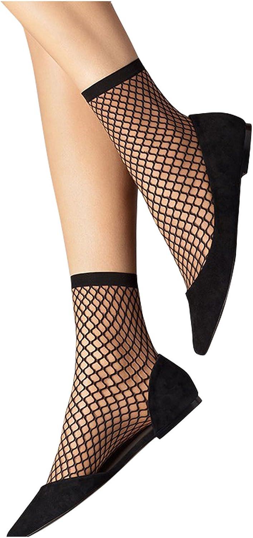 POPOOL PPBL17 3 Pair Short Ankle Socks Women's Ladies' Fishnet Mesh Stylish