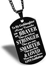 FAINOL Godmother Godfather Gifts for Godchild Black Dog Tag Necklace - to My Goddaughter, Always Remember You're Braver Than You Believe.