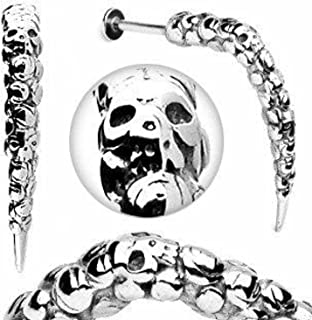 eg gifts Skull Surgical Steel Carved Hook Labret 14 Gauge 3/8""