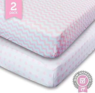 Crib Sheets, Toddler Bedding Fitted Jersey Cotton (2 Pack) Pink Polka Dot, Chevron