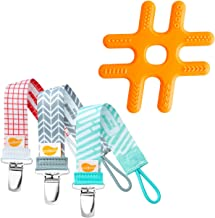 Ulubulu Baby Teether Silicone Hashtag with Holder, Pacifier Clip/Teether Holder Combo
