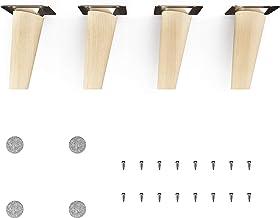 Pieds de meuble en bois - sossai® Clif Round | Nature (non traitée) | Hauteur: 10 cm | HMF2 | rond, conique (conception in...
