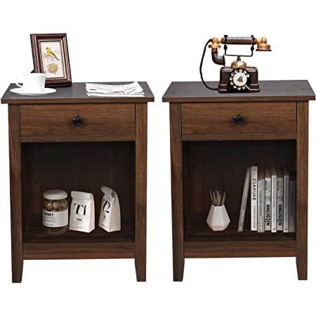 GBU Bedroom Nightstands - Set of 2 Wooden Night Stands with Drawer for Home Bedside End Table Large Storage Furniture, Brown Wood Grain