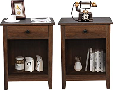 GBU Bedroom Nightstands - Set of 2 Wooden Night Stands with Drawer for Home Bedside End Table Large Storage Furniture, Brown
