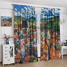 Window Draperies W60 x L84 Inch,Thermal Insulated Light Blocking Drapes for Bedroom,Wanderlust Decor Collection,Cesky Krumlov Czech Republic Tower Trees Distant Hills European Heritage Travel Destinat