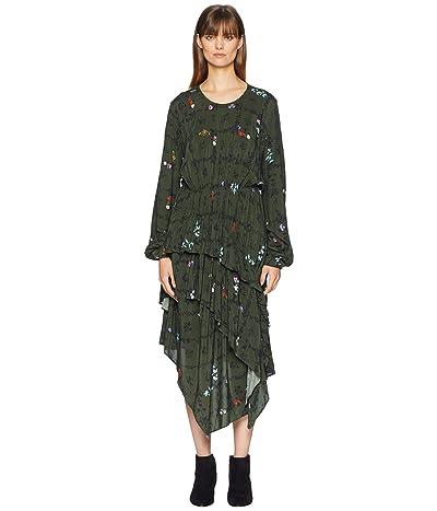 Preen by Thornton Bregazzi Sinead Dress (Floral Vine Khaki Print) Women