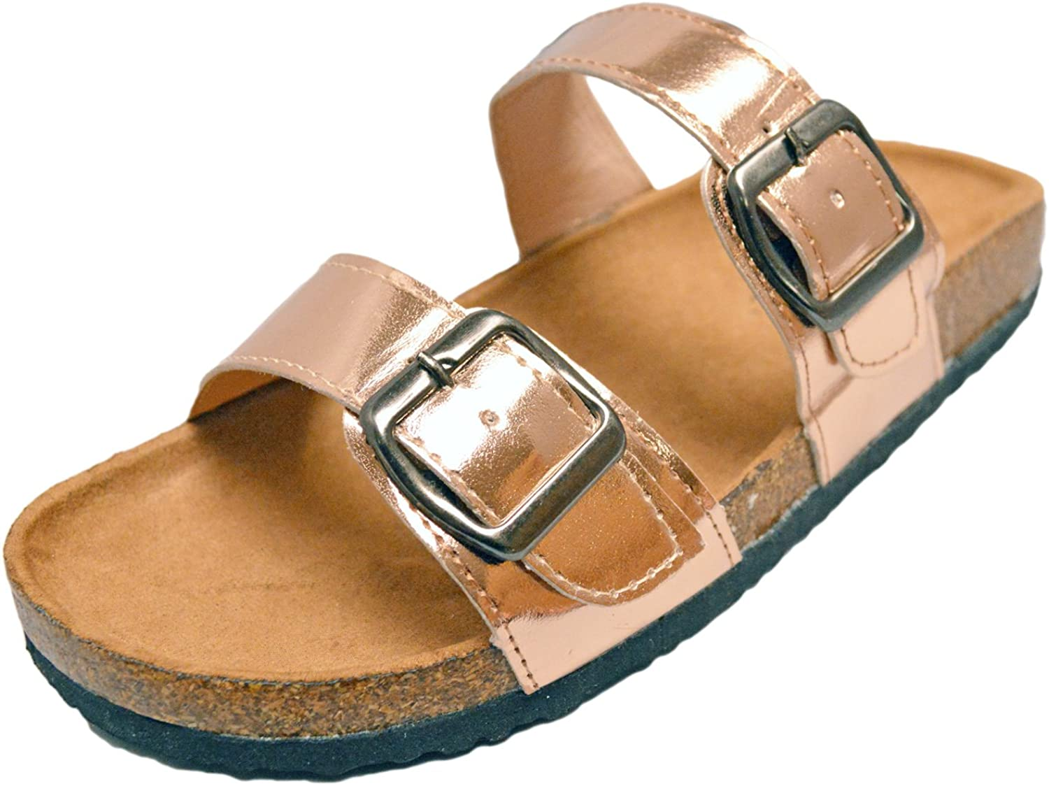 Orly shoes Women's Two Buckle Strap Vegan Suede Footbed Slide Sandal