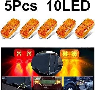 5 Pcs Trailer Marker Light Double Bullseye 10 LED Truck Clearance Light Amber