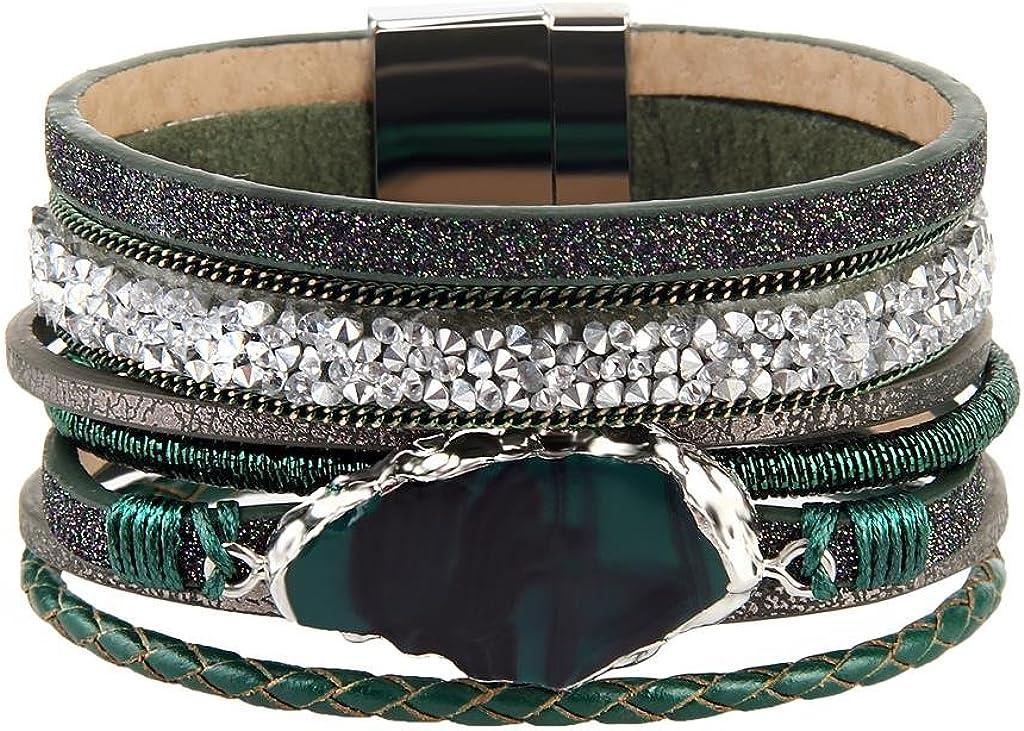 COOLLA Braided Wrap Bracelet Agate Stone Crystal Leather Cuff Bangle Women Bracelet