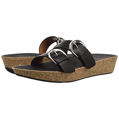 FitFlop Duo-Buckle Slide Sandals Leather (Black) Women