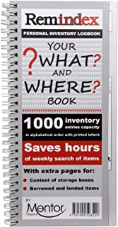 REMINDEX Personal Inventory Storage Organizer logbook - Your What and Where Reference Book Plus Extra Pages for Boxes Content + Borrowed and lended Items