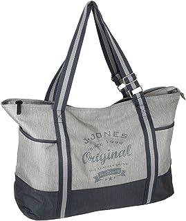 J JONES JENNIFER JONES Großer Shopper XXL Handtasche aus Canvas Schultertasche Sporttasche Freizeittasche mit Reißverschluss