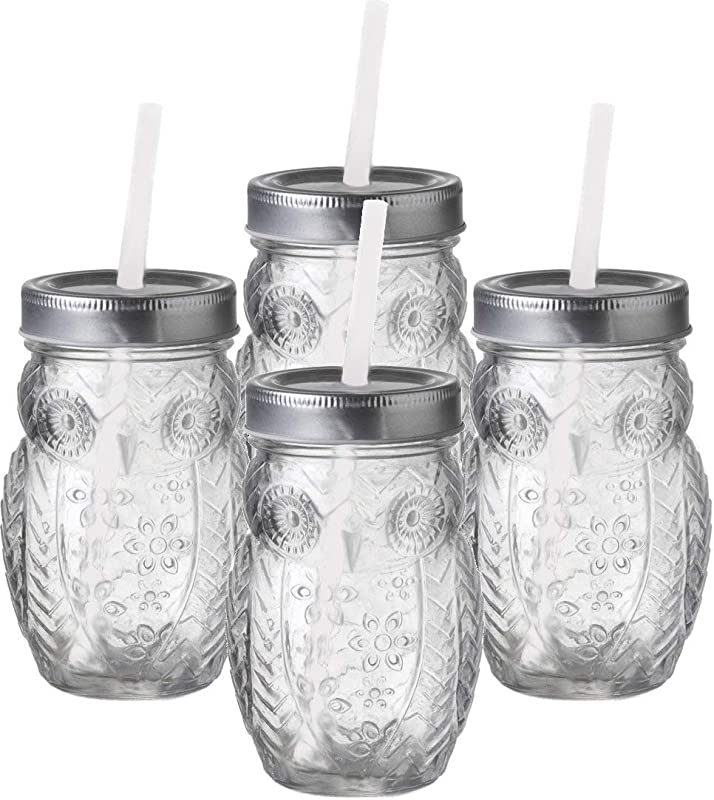 Circleware 69052 Owl Mason Jars Drinking Glasses With Metal Lids And Hard Plastic Straws Set Of 4 Glassware For Water Beer And Kitchen Home Decor Dining Beverage Gifts 15 Oz Clear