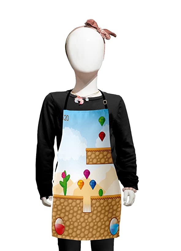 Lunarable Boy's Room Kids Apron, Arcade Fun Game World Cartoon Desert with Digital Diamond Figures and Blocks, Boys Girls Apron Bib with Adjustable Ties for Cooking Baking and Painting, Multicolor