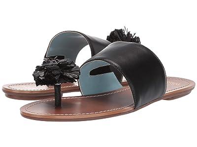 Frances Valentine Clementine Slide Sandal (Black Specchio/Black Raffia) Women