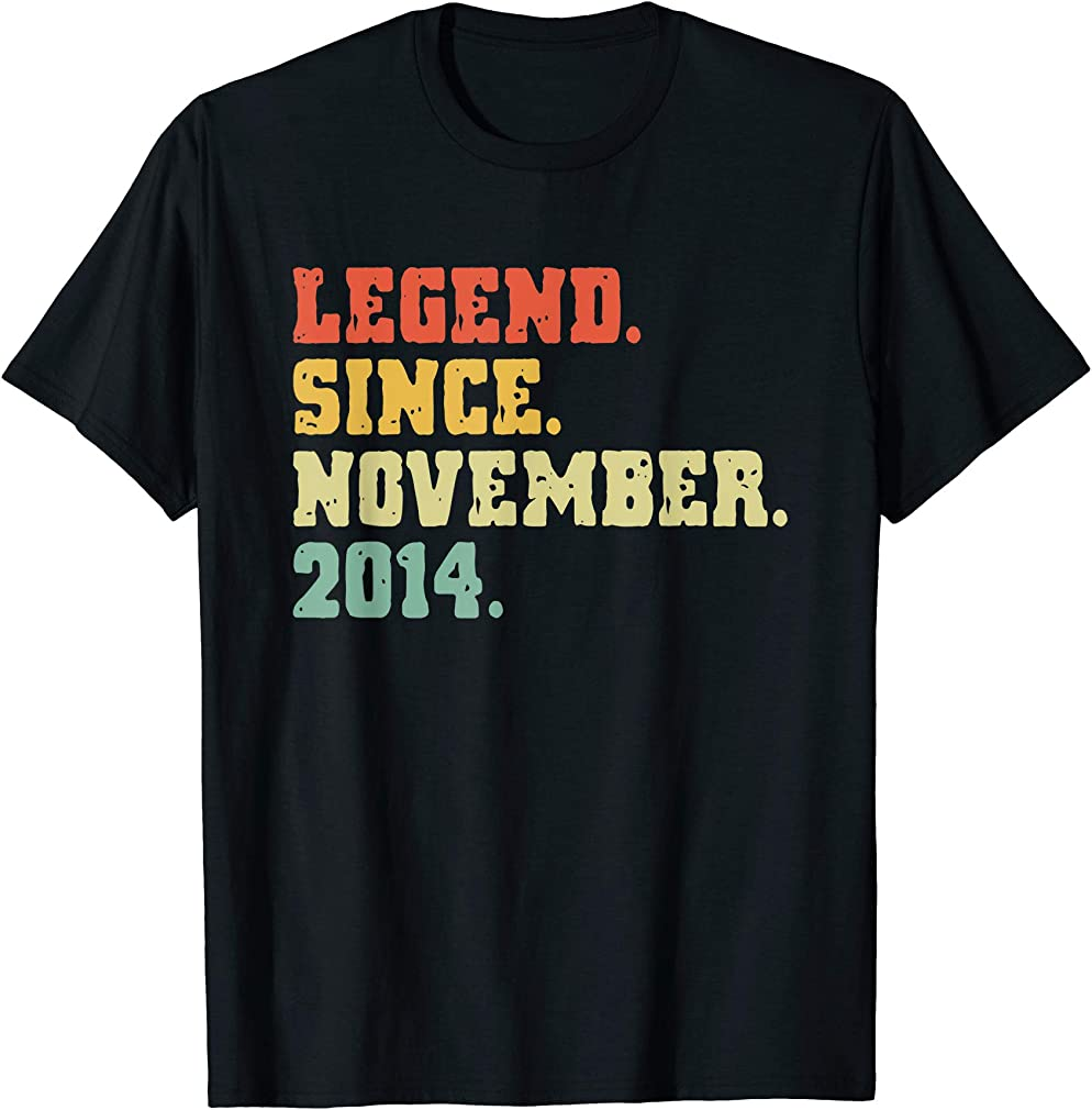 5th Birthday Gifts 5 Years Old Legend Since November 2014 T-shirt