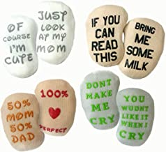 Baby Socks Gift Set - Unique Baby Shower or Newborn Present   Cute Quotes 4 Pair