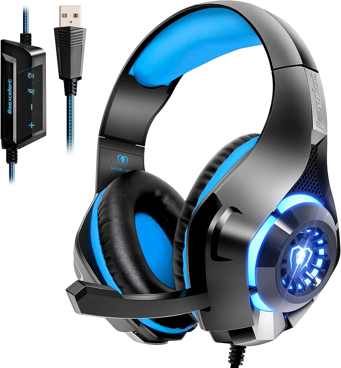Amazon.com: Beexcellent USB Gaming Headset for PC,7.1 Surround Sound PC  Headset with Noise Canceling Mic Volume Control LED Light for Laptops:  Computers & AccessoriesAmazon.com