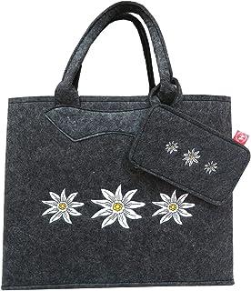 Witzgall Filztasche grau mit Edelweiß und Handytasche 38x20x30 cm Trachtentasche