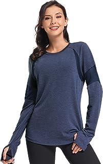 Womens Long Sleeve Workout Shirts-Plain Long Sleeve Tshirt for Women Yoga Sports T-Shirt Activewear with Thumb Hole