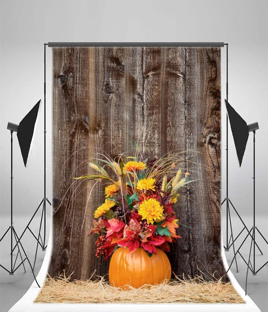 8x12 FT Harvest Vinyl Photography Backdrop,Healhy Dinner Ingredients Harvest Wreath with Red Bowknot Fresh Organic Options Background for Baby Birthday Party Wedding Studio Props Photography