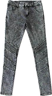 Bienzoe Girl's Cotton Stretch Dark Blue Snow Wash Dart Knee Denim Skinny Jeans