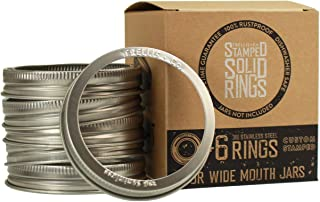 Trellis + Co. Stamped Stainless Steel Wide Mouth Mason Jar Replacement Rings/Bands/Tops | Durable & Rustproof | For Pickling, Canning, Storage (6 Pack)