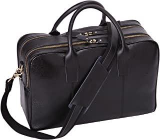 Leathario Real Leather Deluxe Mens Business Briefcase 14 Inch Laptop Shoulder Bag (Black)