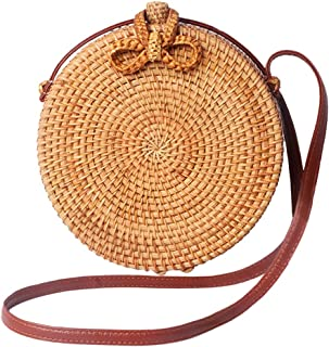Handwoven Round Rattan Crossbody Bag for Women Leather Shoulder Straps Round Rattan Purse Straw Bags