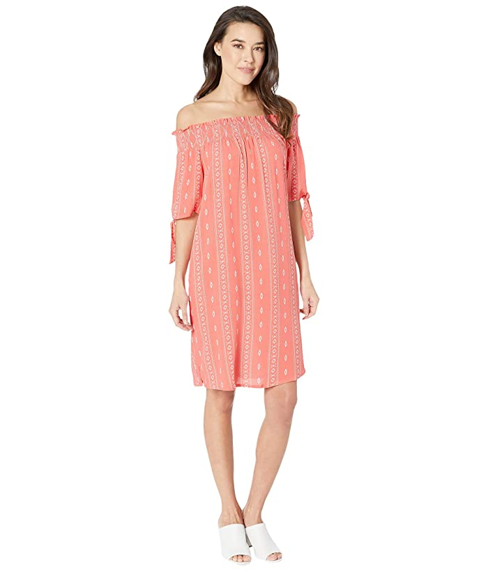 Tribal Crinkle Woven Off Shoulder Dress w/ Pockets (Sunset) Women