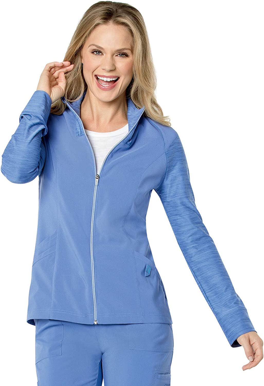 Landau Women's 3 Pocket, Modern Tailored Fit Mock Neck Medical Jacket 9876 : Clothing, Shoes & Jewelry