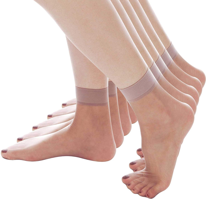 ElsaYX Women Sheer Silk Ankle High Socks Short Nylon Stockings 5 Pairs /10 Pairs