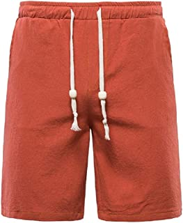 Doufine Men's Summer Bechwear Waistband Stretchy Cotton Linen Board Shorts