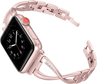 Secbolt Stainless Steel Band Compatible Apple Watch Band 38mm 40mm Women Iwatch Series 4, Series 3, Series 2 1 Accessories Metal Wristband X-Link Sport Strap, Rose Gold