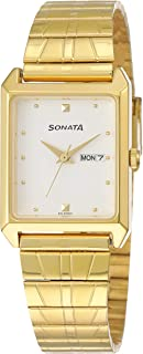 Sonata Analog White Dial Men's Watch -NK7007YM03
