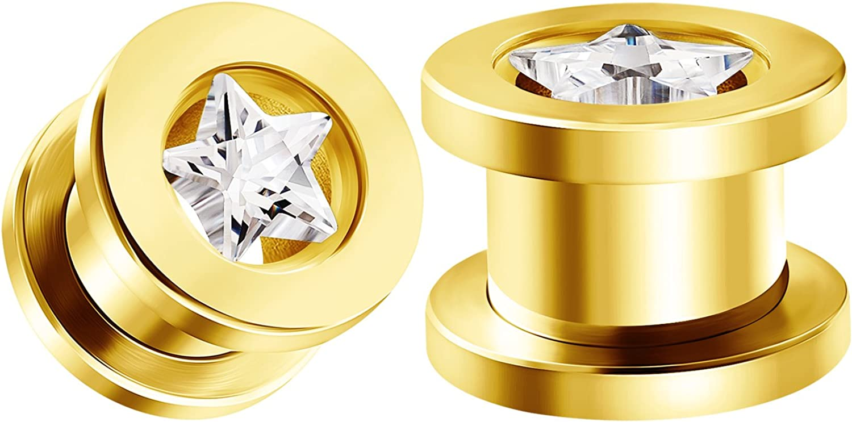 BIG GAUGES Pair of Screw Anodized Clear Crystal Piercing Jewelry Stretcher Ear Plug Earring Lobe Tunnel