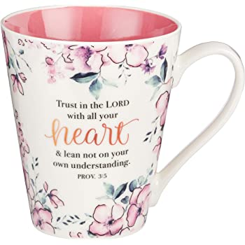 Trust In The Lord Proverbs Coffee Cup for Women - Inspirational Coffee Cup with Proverbs 3:5 Bible Verse in Plum Floral (13-Ounce Ceramic)