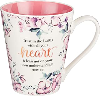 Trust in The Lord Proverbs Coffee Cup for Women - Inspirational Coffee Cup with Proverbs 3:5 Bible Verse in Plum Floral (1...