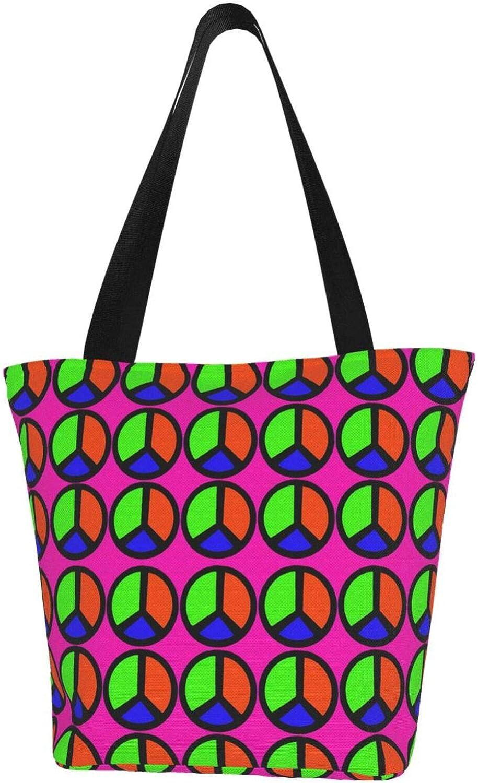 Pink Peace Sign Cartoons Themed Printed Women Canvas Handbag Zipper Shoulder Bag Work Booksbag Tote Purse Leisure Hobo Bag For Shopping