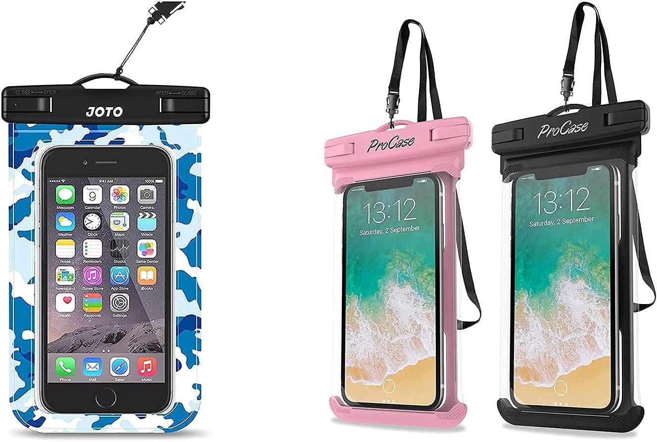 JOTO Universal Waterproof Pouch Cellphone Dry Bag Case Bundle with ProCase [2 Pack] Universal Waterproof Case for Phones up to 7