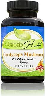 Absorb Health Cordyceps Sinensis Mushroom Extract Capsules, 100 Count