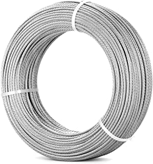 316 1/8'' Stainless Steel Cable Railing Kit 400FT (122m) | 7x7 Aircraft Cable for Deck Cable Railing Systems, Hardware, Deck Stair, DIY Balustrade
